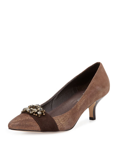 Gia Jewel Ornament Pump, Dark Brown