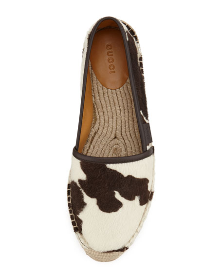 Calf-Hair Espadrille Flat, Brown