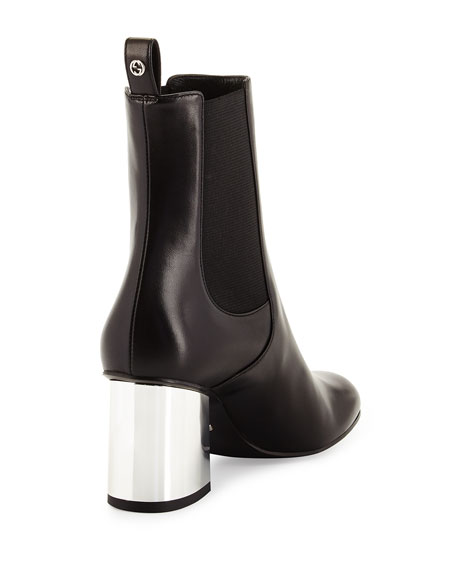 Gucci Leather Mirror-Heel Bootie, Black