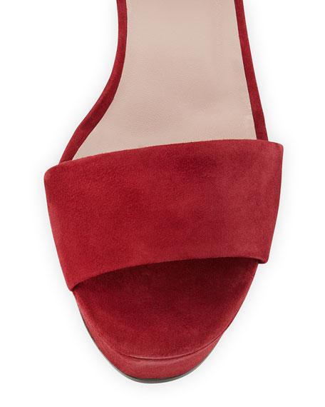 Leila Suede Platform Sandal, Burgundy