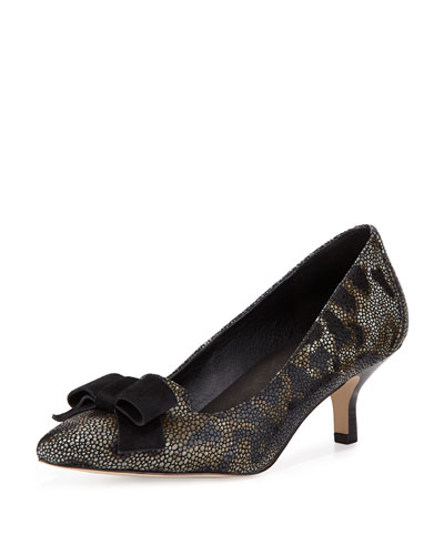 Gretel Leopard-Print Bow Pump, Black/Natural