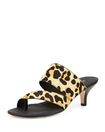 Ruge Asymmetric Slide Sandal, Black/Natural/Leopard