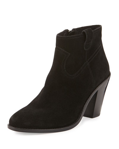 Ivana Suede Ankle Bootie, Black