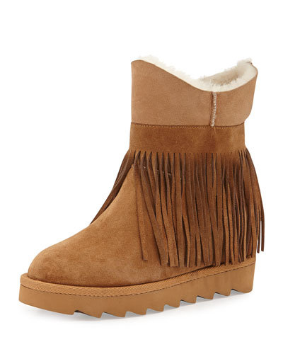 Yago Fringe Shearling Boot, Light Camel