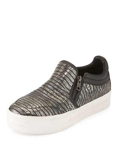 Jordy Snake-Embossed Sneaker, Antique Nickel