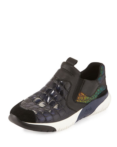 Set Croc-Embossed Trainer, Black/Indigo