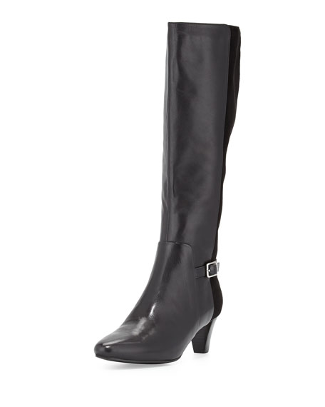 Cole Haan Sylvan Leather & Suede Knee Boot, Black