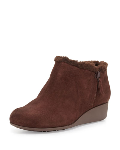 Callie Suede Wedge Bootie, Chestnut