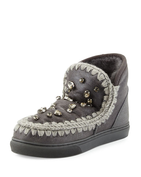 mou Mini Eskimo Suede Rhinestone Sneaker, Charcoal