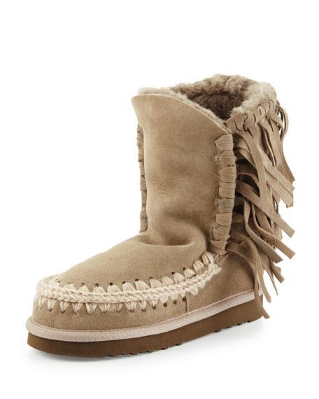 mou Eskimo Fringe Suede Boot, Light Tan