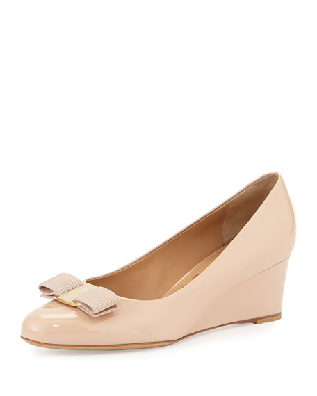 Salvatore Ferragamo Mirabel Patent Bow Demi-Wedge Pump, New