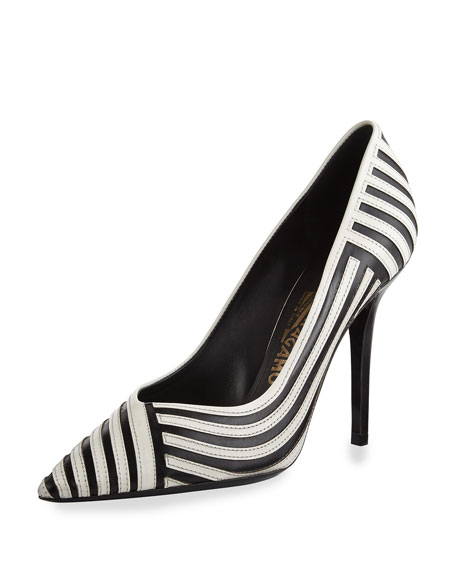Striped Pointed-Toe Pump, Nero/Lait