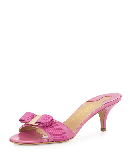 Salvatore Ferragamo Glory Patent Bow Slide Sandal, Anemone