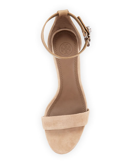 Thames Suede Wedge Sandal, Taupe