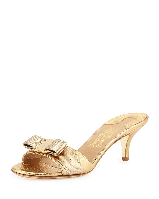 af4c35147baf4 Salvatore Ferragamo Metallic Bow Slide Sandal