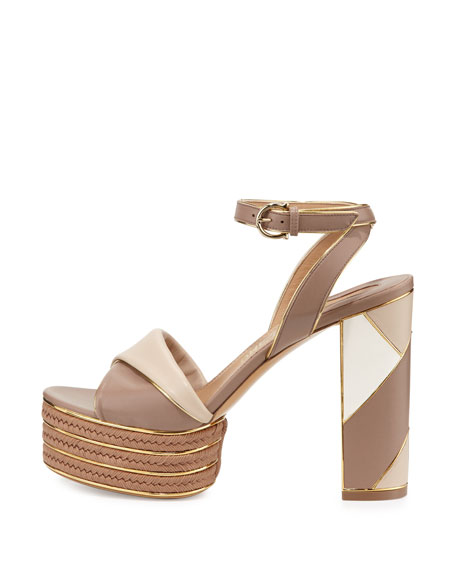 Patchwork Leather Platform Sandal, Nutmeg