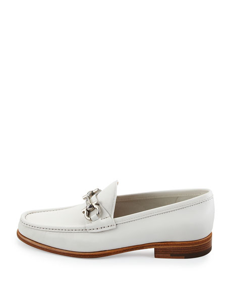 Leather Gancini Loafer, Newsprint