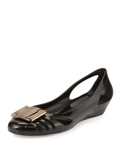 Bermuda Cutout Jelly Wedge Pump, Nero