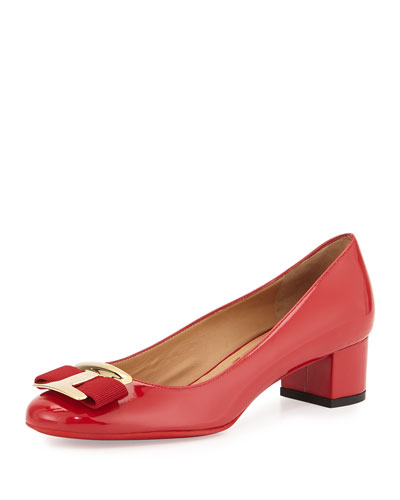 Ninna Patent Leather Bow Pump, Red (Rosso)