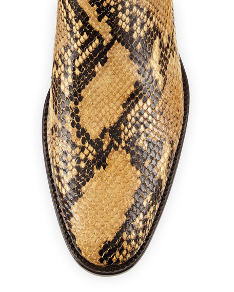Python-Print Leather Bootie, Animal