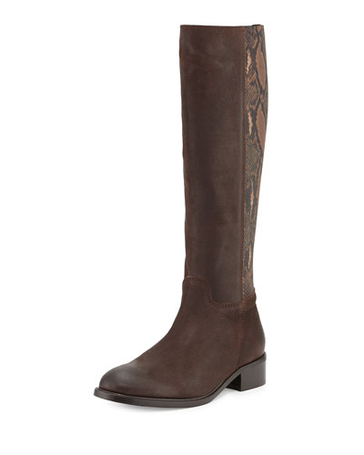 Alaina Snake-Print Knee Boot, Tomorrow