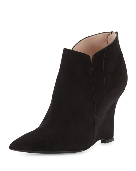 Furla Musa Pointed-Toe Wedge Bootie, Onyx