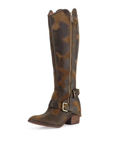 Dela Vintage Suede Riding Boot, Olive
