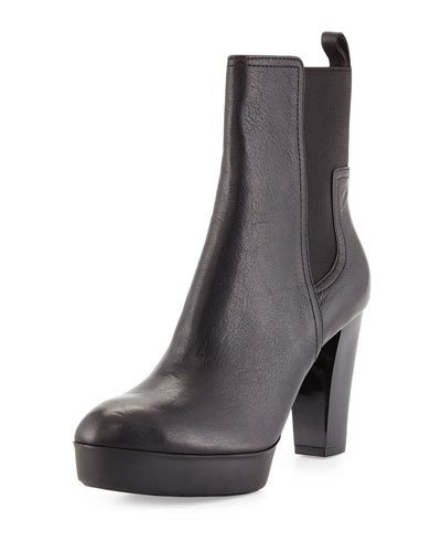 Milan Platform Leather Boot, Black
