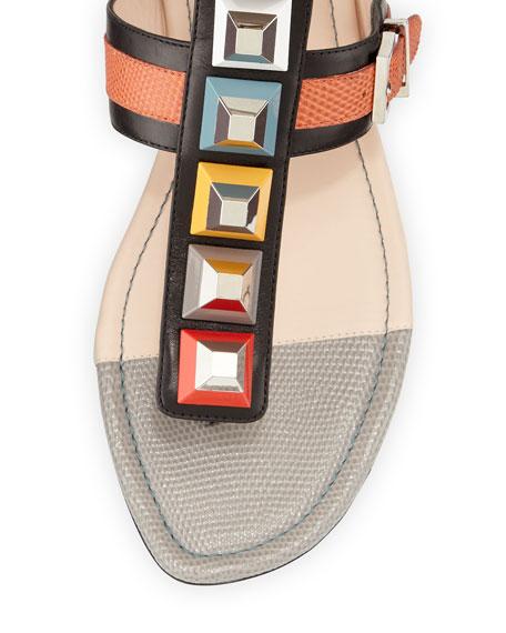 Multicolor Studded Ankle-Wrap Sandal, Black