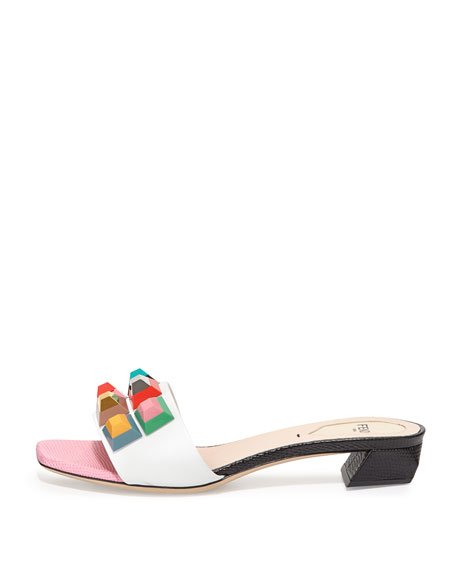 Studded Leather Slide Sandal, White/Lollipop