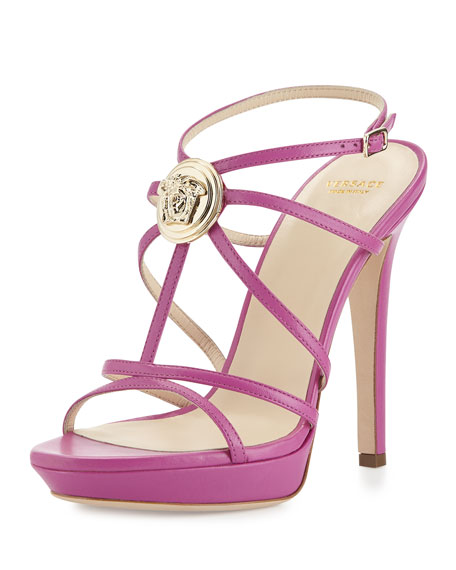 Versace Medallion Strappy Leather Slingback Sandal, Purple