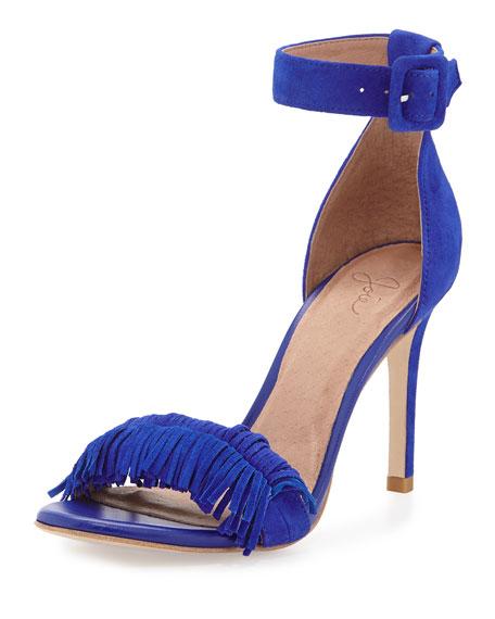 Joie Pippi Naked Suede Fringe Sandal, Royal Blue