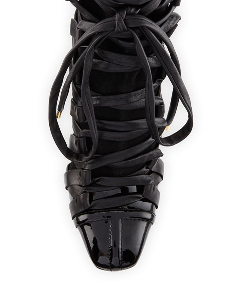 Lace-Up Leather 115mm Bootie, Black