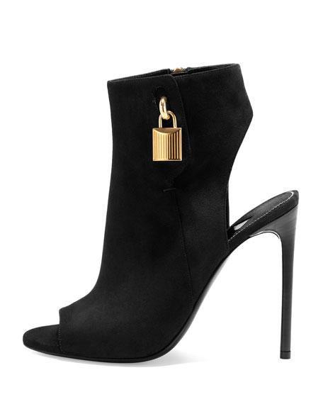 Open-Toe Suede Ankle-Lock Bootie, Black