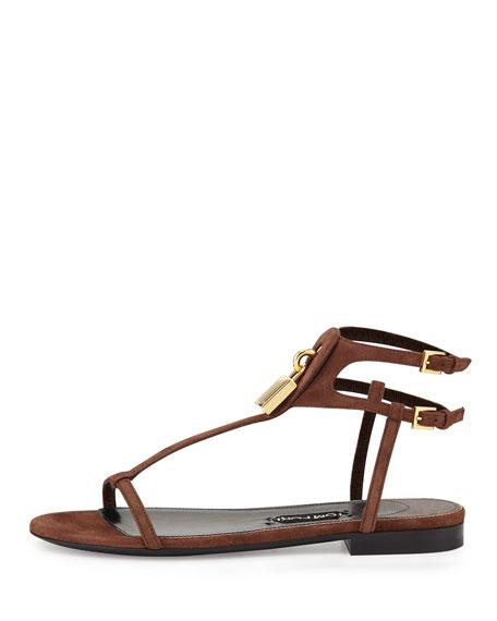 Suede T-Strap Flat Padlock Sandal, Sienna