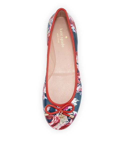 willa floral-print leather ballerina flat, multi