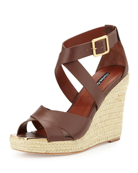 Charles David Olympia Leather Espadrille Braided Wedge Sandal ...
