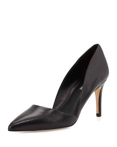 Lulu Pointed-Toe Leather d'Orsay Pump, Black