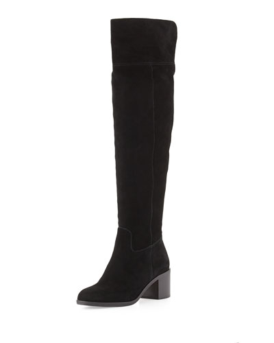 Paulette Sport Suede Over-the-Knee Boot, Black