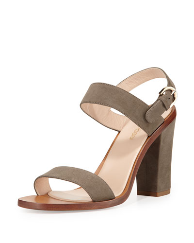 Suede Slingback Sandal, Gray