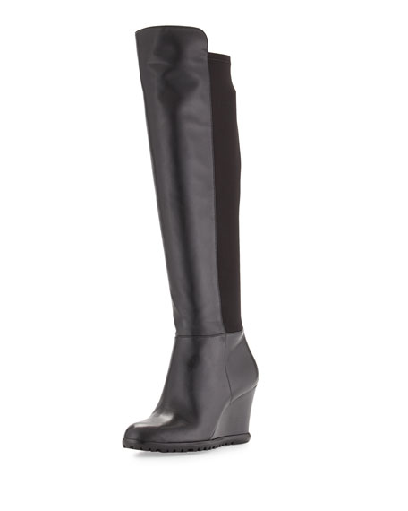Michael Michael Kors Woods Tall Wedge Boot Black Neiman