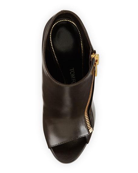 Open-Toe Side-Zip Bootie, Brown
