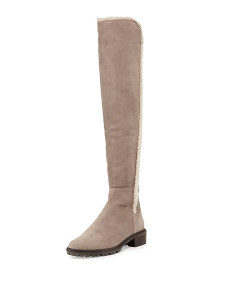 Parka Shearling-Trimmed Suede Over-The-Knee Boot, Topo
