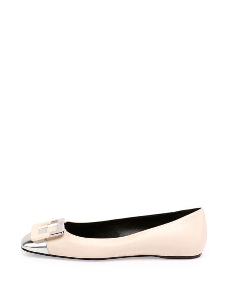 Ballerine U-Cut Cap-Toe Flat, Cream/Silver