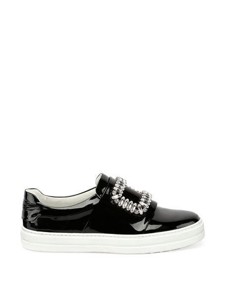 Patent Strass Buckle Sneaker, Black