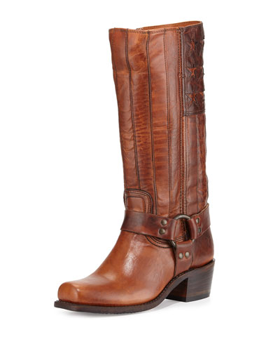 Harness Americana Tall Leather Boot, Tan