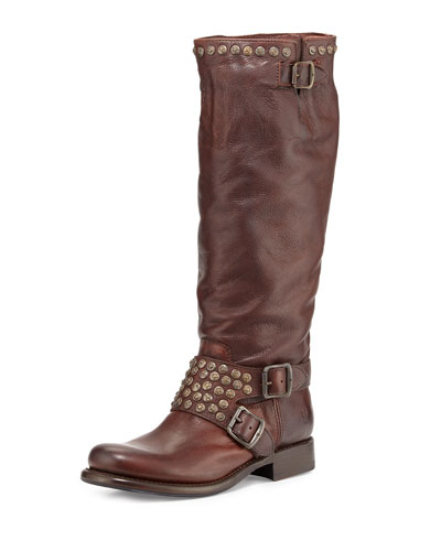 Jenna Studded Tall Moto Boot, Dark Brown