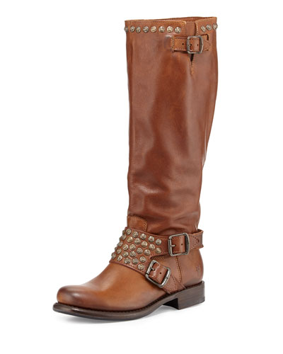 Jenna Studded Tall Moto Boot, Cognac