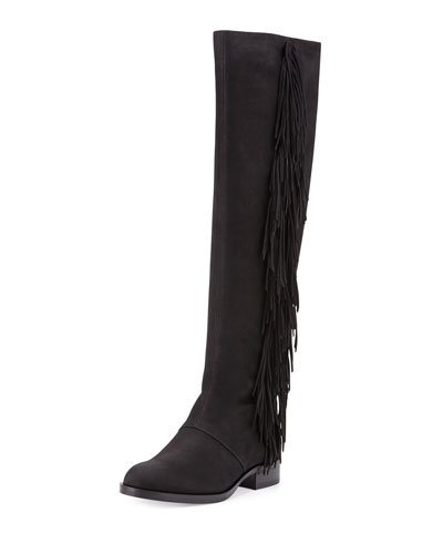 Josephine Leather Fringe Boot, Black