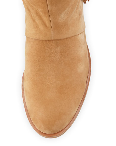 Josephine Fringed Knee Boot, Camel